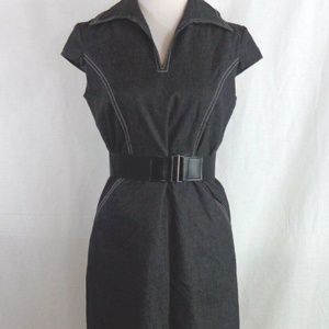 SANDRA DARREN BELTED BLACK DENIM SHIRT DRESS SZ 6